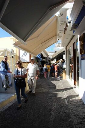 Exploring the shops of Fira, Greece