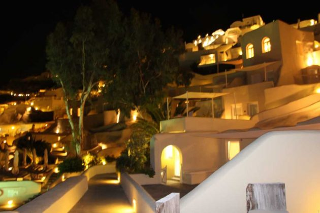 Mystique Hotel at Night: Santorini, Greece