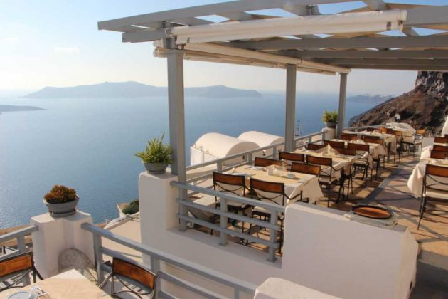 Dining above the Caldera in Greece
