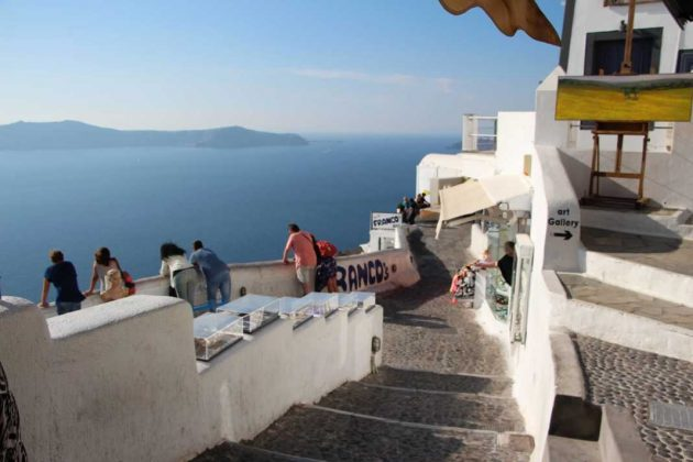 Seaview and cobbled steps of Fira, Greece